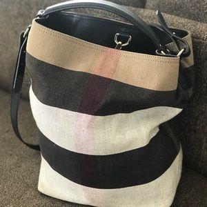 Medium Susanna Jute/Cotton Mega Check Bucket Bag